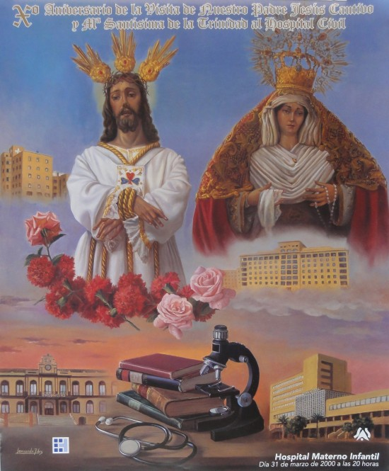 Cartel visita de Jesús Cautivo al Hospital Civil.Málaga 2000