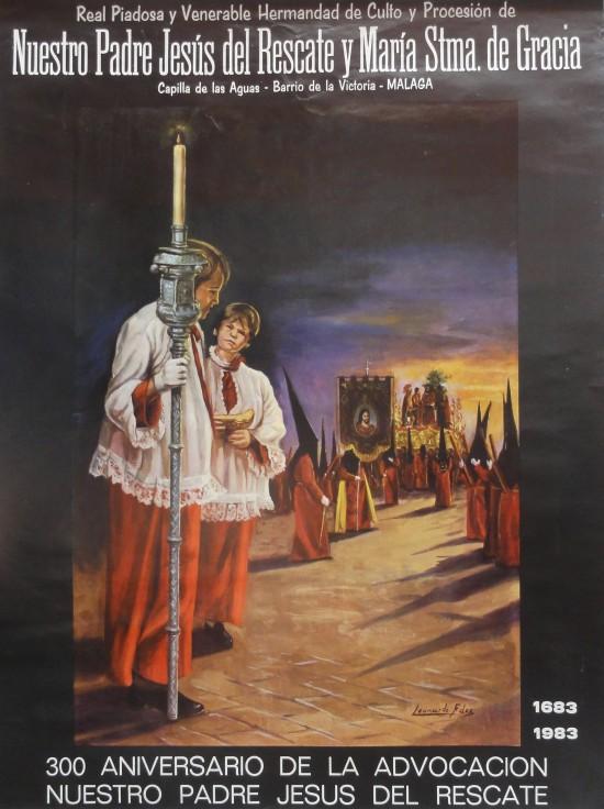 Cartel 300 Aniversario Advocación Jesús Rescate Málaga 1983