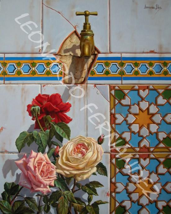 GRIFO CON ROSAS Lámina 45 x 32 cm